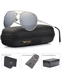 LUENX Hombre Gafas de sol Aviador polarizado con estuche - UV 400 No Espejo de protección marrón Lente Marco de metal 60mm