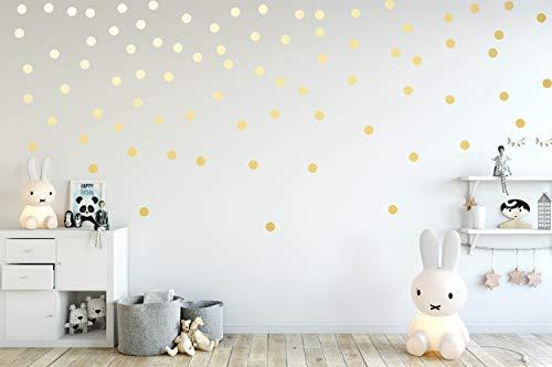 Wandtattoo Punkte 100 Stück x Ø 5cm selbstklebend in Silber Gold Kupfer Wandsticker Aufkleber Dots Farbe Gold
