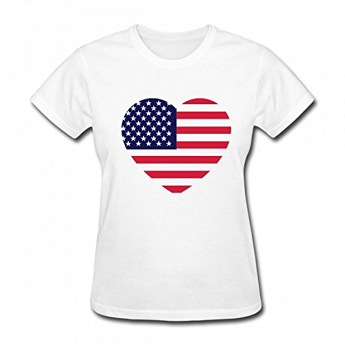 qingdaodeyangguo T Shirt For Women - Design America Heart Shirt White