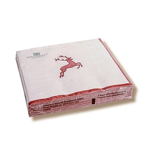 Servietten Hirsch Größe: 33 cm B x 33 cm T, Farbe: Rubinrot