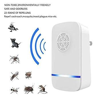 YANWE RéPulsif éLectronique Ultrasonique, Utilisation éLectronique De ContrôLe Antiparasitaire IntéRieur/ExtéRieur, Convient Aux Cafards, Moustiques, Souris, Rats, AraignéEs, Mouches, Insectes Etc