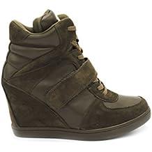 0b89231c058f Baskets Compensées Femmes Montantes – Chaussure Sneakers Bimatière De Ville Talon  Haut - Tennis Casuel en