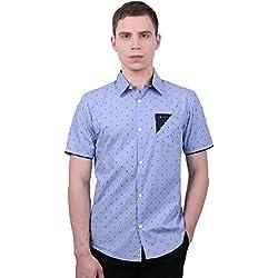Allegra K Camisa Casual para Hombres Cuello En Punta con Botón Mangas Cortas Patrón del Ancla - Azul/Small (US 34, EU 44)
