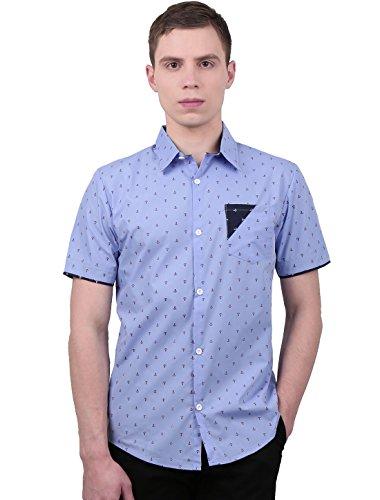 Preisvergleich Produktbild Allegra K Herren Anker Muster Kurzarm Herren Freizeithemd mit Brusttasche,  Blau / L (EU 54)