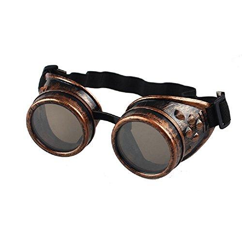 TUDUZ Vintage Stil Steampunk Cyber Brille Schweißen Punk Round Brille Rave Neuheit Cosplay (C)