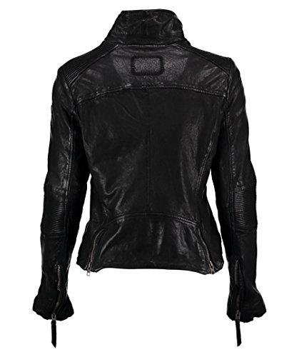 TIGHA Damen Bikerjacke Lederjacke JANE schwarz vintage black (L) - 2