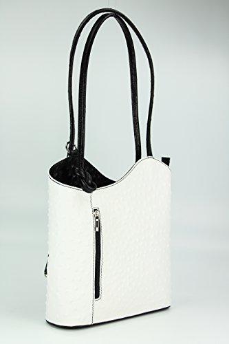 """BELLI ital. Ledertasche """"Belli Backpack"""" 2in1 Damen Rucksack Leder Handtasche Schultertasche - Freie Farbwahl - 28x28x8 cm (B x H x T) Weiß schwarz strauss"""