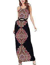 Abiti Lunghi Donna Estivi Eleganti Vintage Stile Etnico Bohemian Vestiti  Smanicato Chic Ragazza Collo Halter Senza d785e54202d