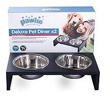 PAWISE - Ciotola per cani rialzata in acciaio inox, con telaio in legno, doppia ciotola, 750 ml