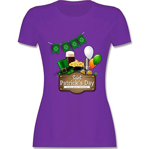 Festival - Saint Patrick's Day Happy music festival - tailliertes Premium T-Shirt mit Rundhalsausschnitt für Damen Lila
