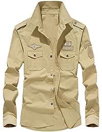 HerrenHemd,Beikoard Herbst Casual Militär Cargo Slim Button Langarm-Shirt  Herren Hemd Regular Fit Kurzarm… 21e043c578