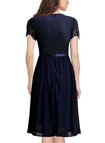 Miusol Damen Abendkleid Sommer Chiffon festlich Kleid Cocktailkleid Vinatge kleider Blau Gr.XL -