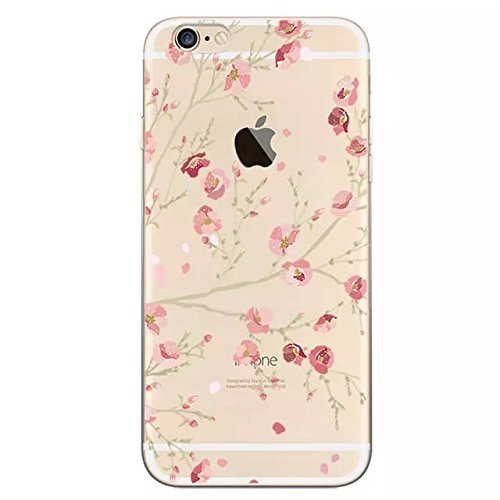 Sunroyal 0.5MM Thin Edel Klarsicht Ultra Slim Dünn Weichem TPU Gel Silikon Case Back Cover für Apple iPhone 5 5S Durchsichtige Klar Bunt Handytasche Handyhülle Strass Glitzer Schale Etui Schutz Hülle Tasche mit Muster - Transparent Beautiful Rosa Blooming Blume Flower in Spring Painted Pattern