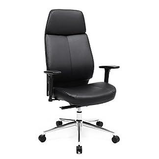 Songmics Silla giratoria de oficina Altura ajustable Diseño ergonómico con respaldo de altura alta Adaptable al cuerpo Negro OBG91B