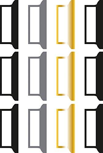 eregister, Basic, Glam, ca. 3 cm, selbstklebend, Btl. 12 Stück, farblich sortiert schwarz, grau, gold, Register aus Papier, Registerlaschen ()
