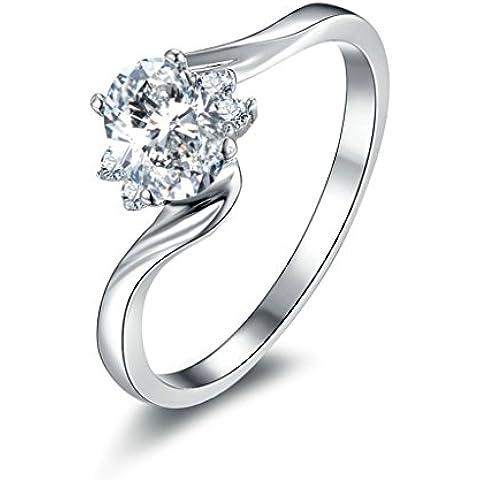 (Personalizzati Anelli)Adisaer Anelli Donna Argento 925 Anello Fidanzamento Incisione Gratuita Ovale Doppio Anello Diamante Twist