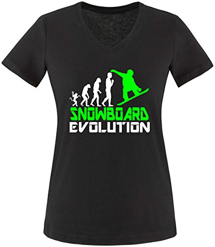 EZYshirt® Snowboard Evolution Damen V-Neck T-Shirt Schwarz/Weiss/Neongr