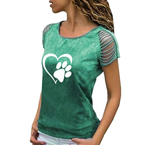 Junioren Waffel (Haughtily Frauen Bedrucktes T-Shirt mit Farbverlauf und Ausschnitten Rundhalsausschnitt Kurzarm Plus Size Slim Fit Pullover Oberteile Bluse)