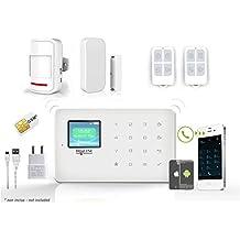 HD-LINE Al-18Kit Alarma inalámbrica GSM para tarjeta SIM sólo/App IOS Android Y detectores puerta/PIR con mando a distancia, color blanco