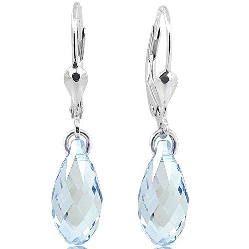 Ohrringe Ohrhänger Tropfen Swarovski® Kristalle 925 Sterling Silber Blau NOBEL SCHMUCK