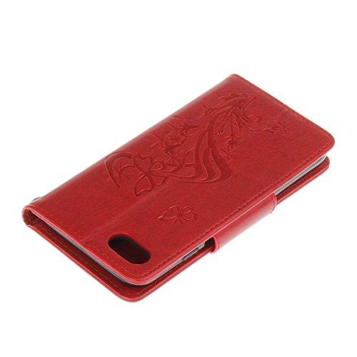 Aeeque® Coque pour iPhone 7 Or, Luxe 3D Diamant Housse Etui en Premium PU Cuir Portefeuille Support Fonction Folio Pissenlit Motif Dessin Anti-Rayures Protection avec Fente de Carte Papillon Rouge