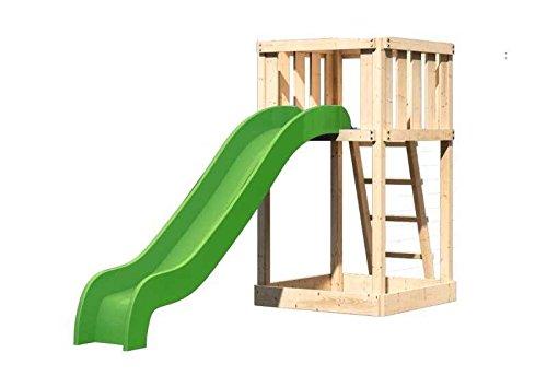 Karibu Spielturm Ronja SPARSET inkl. Schaukelanker und Rutsche Außenmaß (B x T): 107 x 107 cm Dachstand (B x T): - Podesthöhe: 120 cm Gesamthöhe: 186 cm Pfostenstärke: 68 x 68 mm Wandstärke: 18 mm Massivholz Sparset: inkl. Schaukelanker und Wellenrutsche