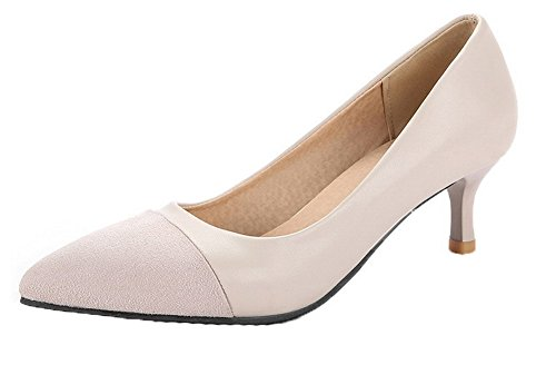 VogueZone009 Damen Spitz Zehe PU Gemischte Farbe Mittler Absatz Pumps Schuhe, Cremefarben, 39