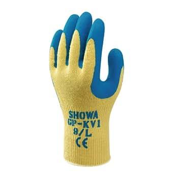 Showa - Gants tricot anti coupure enduction latex GPKV1 - Couleur : Jaune / Bleu - Taille : 09