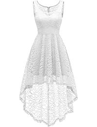 HomRain Vestito Donna in Pizzo Senza Maniche Alto Basso Elegante Vintage  Abiti da Cerimonia Sera Swing 156bf076c6b
