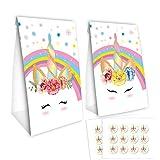 Baosu Confezione da 24 Buste di Unicorno Caramelle Sacchetti-Sacchetti di Carta Unicorno con Adesivo 24pcs Unicorno - Decorazioni per Feste di Compleanno Unicorno
