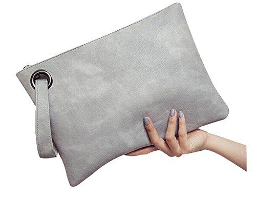 ODN Frauen Grau Umschlag Clutch Tasche PU Leder Frauen Clutch Tasche weiblich Clutches Handtasche