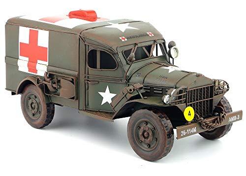XMDNYE Antikes Oldtimermodell Dodge USA Army Truck Dosenauto handgefertigt Rettungswagen rotes Kreuz