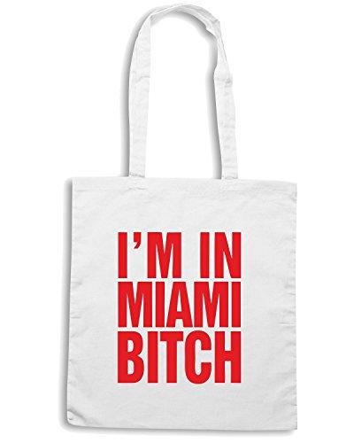 T-Shirtshock - Borsa Shopping TR0072 I m in Miami Bitch T-Shirt Bianco