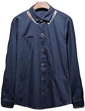 La Camisa Del Color Sólido Suelto Camisa Casual Solapa De La Chaqueta De Los Hombres De Algodón De Manga Larga...