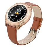 Fitness-Tracker, Smart Watch Mit Herzfrequenz Monitor Activity Tracker Armband HD Color Display Bluetooth Lederarmband Smart Armband,Brown