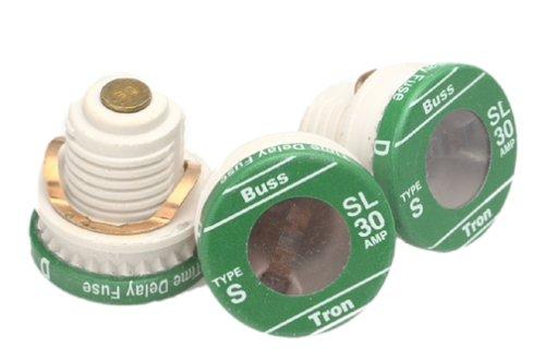 Sl Plug Fuse (Bußmann BP/sl-3030Amp Time Delay geladen Link Ablehnung Boden Plug Fuse, 125V Ul Listed, kardiert, 3er Pack)