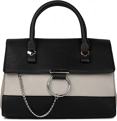 styleBREAKER Satchel Henkeltasche im 2-Tone Design mit Metall Ring und Kette, Handtasche, Tasche, Damen 02012125, Farbe:Schwarz / Hellgrau (Baumwolle-zwei-ton-taschen)