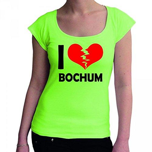 I don\'t love Bochum Fun Damen Boat Neck T-Shirt, Größe:M;Farbe:mintgrün