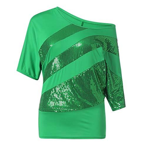 UFACE Damen Rundhals Pailletten Fledermaus Kurzarm T Shirt Frauen Causel Top Kalte Schulter Bluse Plus GrößE (M, Grün)