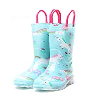 GOUPPER Waterproof Slip-on Kids Rain Boots Easy On&Off with Handles Half-Height Wellies for Boys and Girls (Sky Blue)