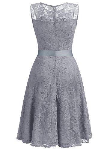 Dressystar AbendKleid Ärmellos Kurz Brautjungfern Kleid Spitzen Rundhals Damen Kleider Grey