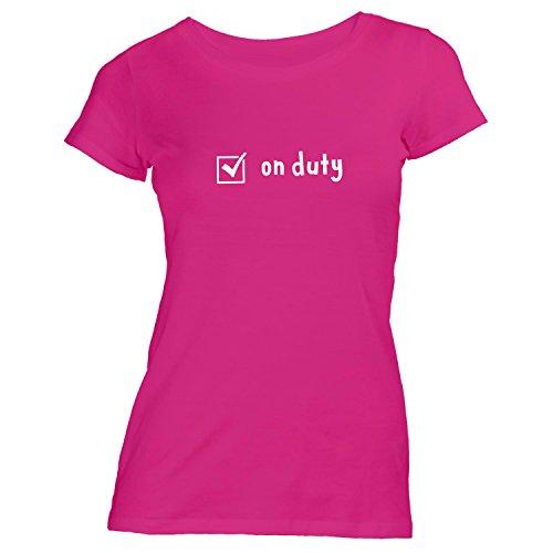 Damen T-Shirt - Check On Duty - Im Dienst - Checkbox Bei der Arbeit Work Office Pink