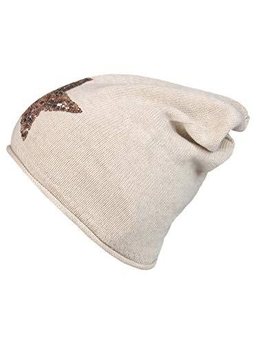 Cashmere Dreams Slouch-Beanie-Mütze mit Kaschmir - Hochwertige Strickmütze für Damen Mädchen - Hat - Pailletten Stern - One Size - Sommer Herbst und Winter Zwillingsherz (Hbg/Gold)