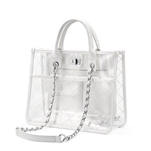 Strandtasche Shopper Durchsichtige Tasche Transparente Tasche Handtasche Damen Fashion Freizeit Reisen Weiß