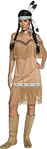 Smiffy's Adult Women's Authentic Western Indian Lady Costume, Dress and Fringing, Western, Serious Fun, Size: XL, 36127