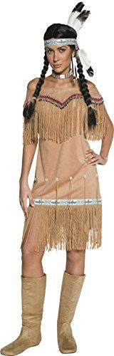 Authentische Western Kollektion Indianerin Kostüm Beige mit Kleid und Umsäumung, Small
