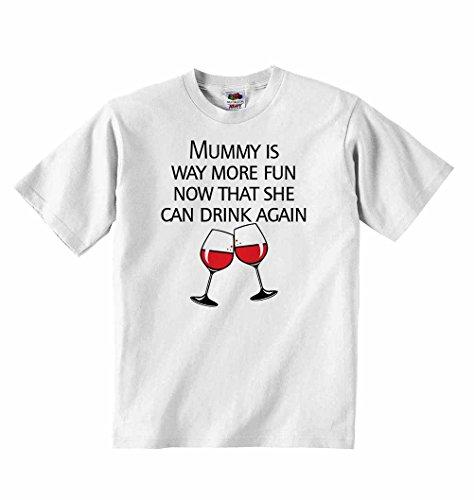 Mummy ist mehr Spaß jetzt, dass Sie wieder können Trinken–Jungen Mädchen T-Shirt personalisierbar Tees Unisex Tshirt Kleidung–Weiß weiß weiß 5 - 6 Years (Wieder Tee)