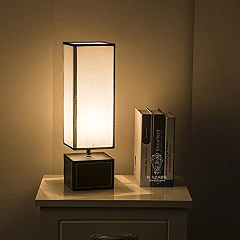JUJUN LED E27 tavolo lampada minimalista creativo per camera da letto soggiorno decorazione illuminazione tessuto pelle Base rettangolare Dimmer scrivania lampada da comodino , button switch