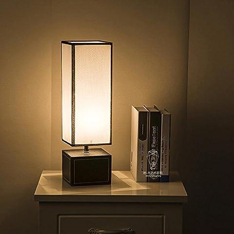 Kesierte LED E27 Table lampe créative minimaliste pour chambre à coucher salon décoration éclairage tissu cuir Base rectangulaire gradateur Desk lampe de chevet , dimming switch