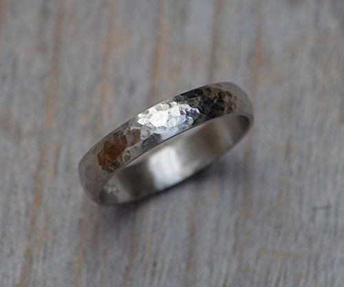 Platinum Wedding Band with Hammered Finish, 3mm or 4mm Wide, Rustic Wedding Ring